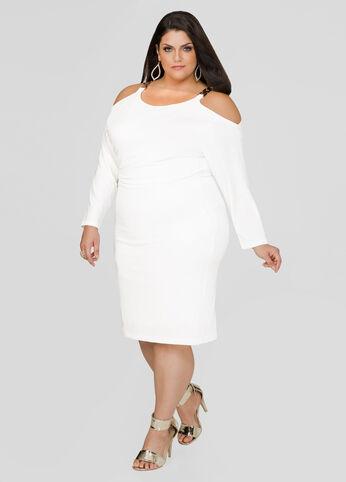 Buckle Shoulder Blouson Dress