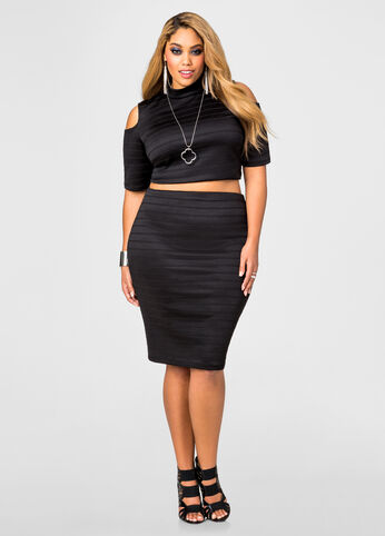 Ribbed Pencil Skirt