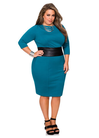 Faux Leather Waist Dress