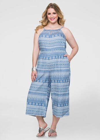 Tribal Cropped Wide Leg Jumpsuit