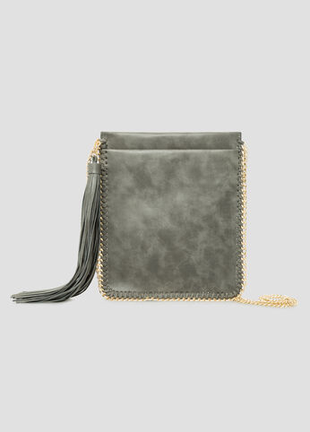 Chain Trim Slim Shoulder Bag