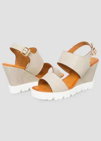 Lugged Wedge Sandal - Wide Width