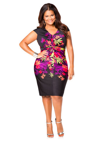 Tropical Knot Front Dress