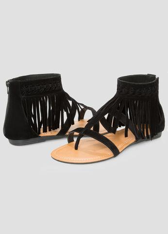 Flat Fringe Sandal - Wide Width