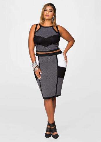 Blocked Cut-Out Pencil Skirt Set