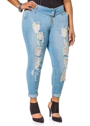 Button Front Destructed Jeans