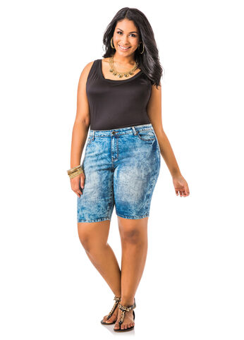 Five Pocket Denim Bermuda Shorts
