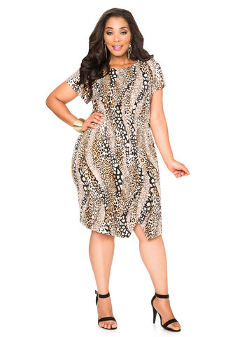 Animal Print Envelope Hem Dress