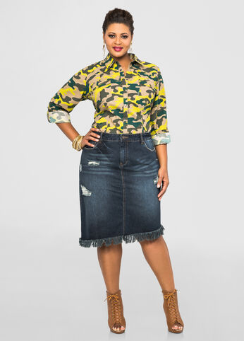 Destructed Asymmetrical Denim Skirt