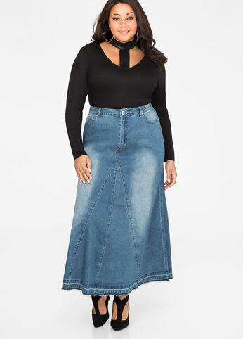Light Wash Release Hem Jean Maxi Skirt