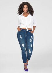 Frayed Cuff Destructed Skinny Jean