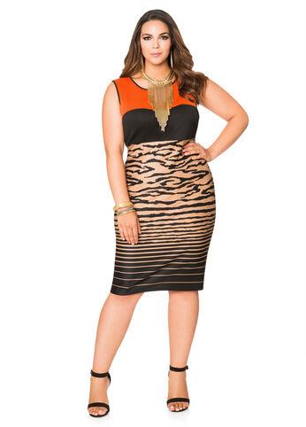 Mixed Print Scuba Sheath Dress