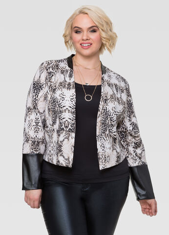 Plus Size Leather Cuffs Ponte Jacket