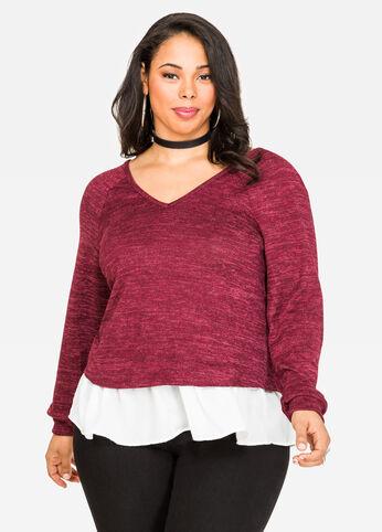 Contrast Hem Marled Sweatshirt