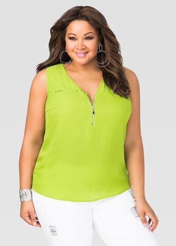 Plus Size Zip Neck Hi-Lo Tank in Green