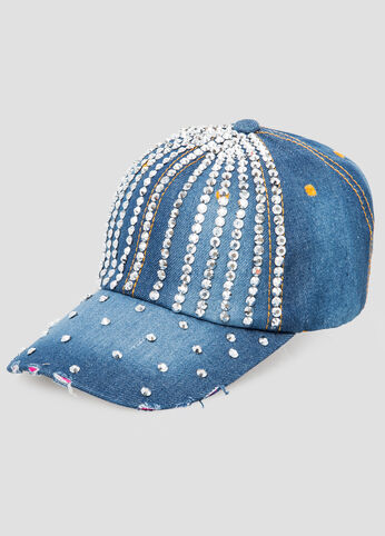 Denim Rhinestone Baseball Cap