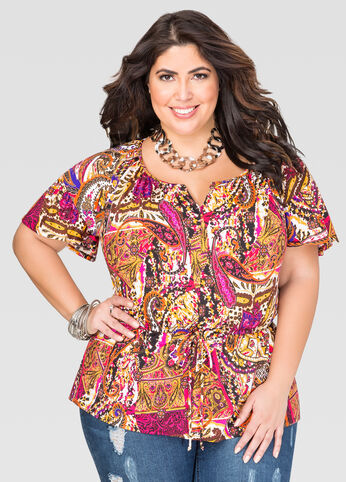 Printed Cinch Waist Peplum Top