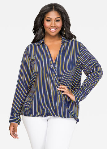 Striped Surplice Hi-Lo Shirt