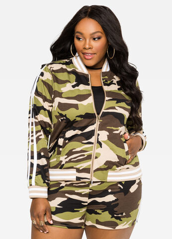 Camo Bomber Sweat Jacket