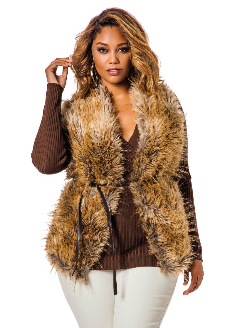 faux fur vest w pleather back ashley stewart. Black Bedroom Furniture Sets. Home Design Ideas
