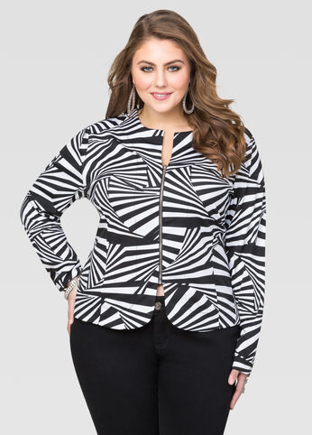 Zip Front Optical Stripe Jacket