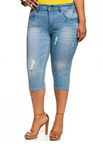 Destructed Denim Capris