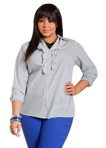 Signature Striped Ruffle Front Shirt