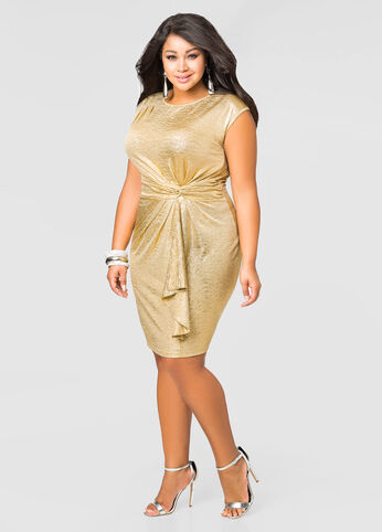 Gold Knot Waist Dress