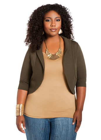 Web Exclusive: Ribbed Trim Shrug