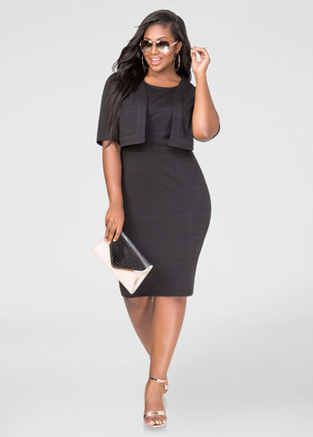 Plus Size Two-Piece Textured Jacket Dress in Black - Front
