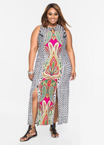 Geo Print Carwash Maxi Dress