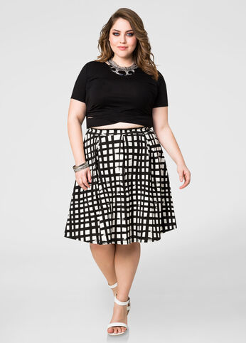 Windowpane Box Pleat Skirt