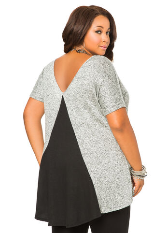 Contrast Back Marled Knit Top