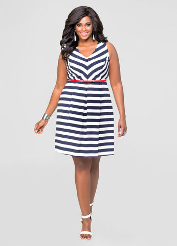 Chevron Stripe Skater Dress