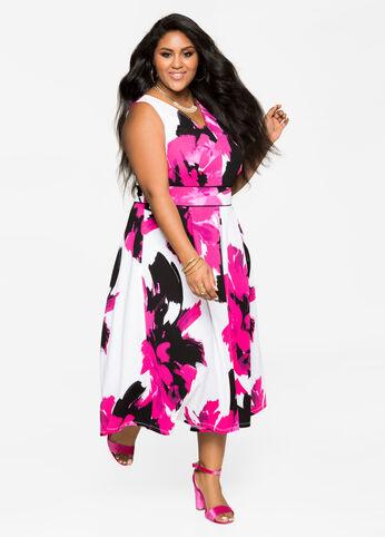 Textured Floral Midi Dress