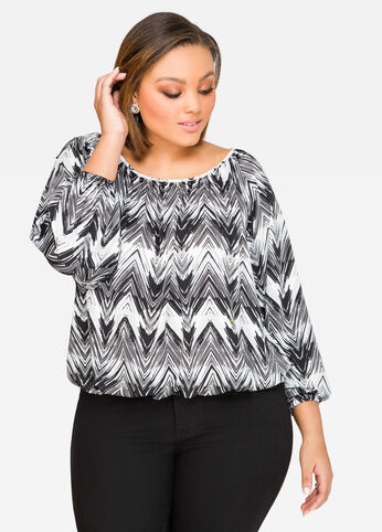 Chevron Bubble Hem Top