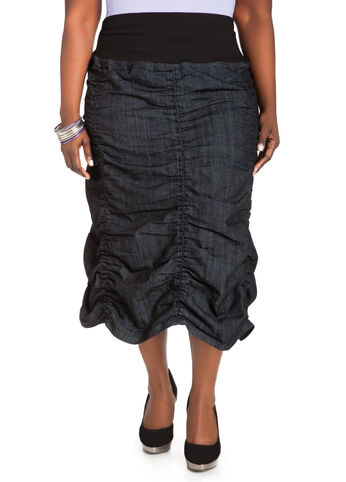 Ruched Denim Skirt