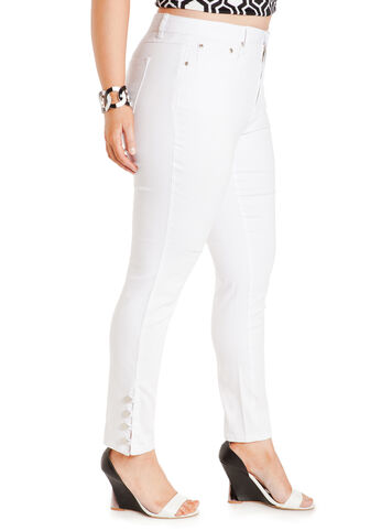 Ankle Button Skinny Jeans