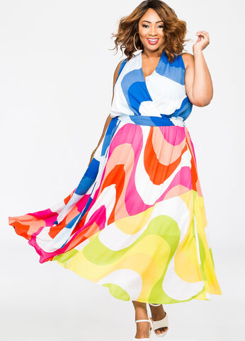 Bold Swirl Surplice Maxi Dress