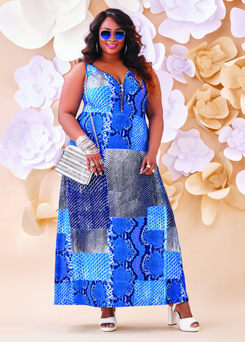 Plus Size Outfits - Royal in Reptile