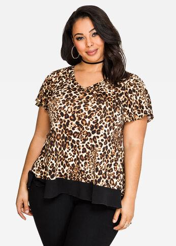 Leopard Chiffon Hem Top