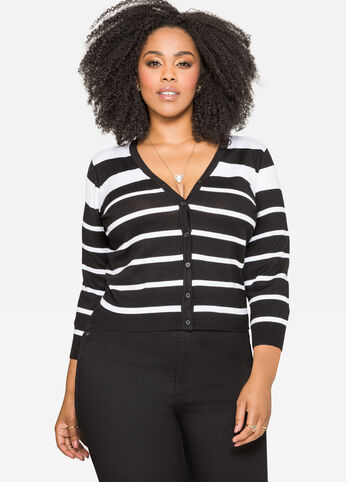Striped Ribbed V-Neck Cardigan
