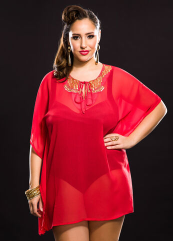 Medallion Beaded Tie Neck Cover-Up