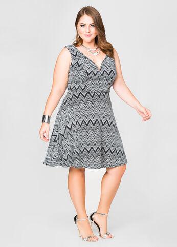 Deep V Front Glitter Dress