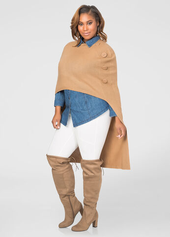 Mock Neck Hi-Lo Poncho Sweater