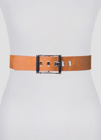 Oversized Buckle Grommet Belt