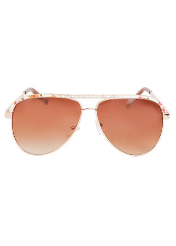 Floral Trim Aviator Sunglasses