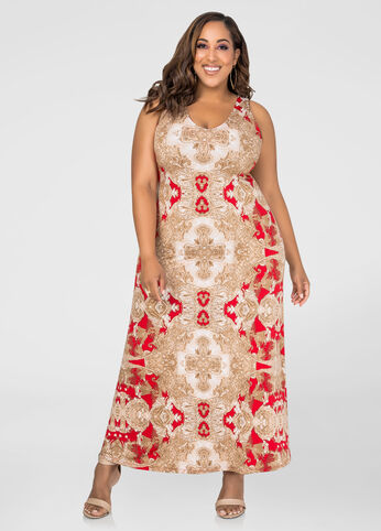 Deep V Paisley Maxi Dress