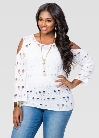 Heart Pattern Cold Shoulder Sweater