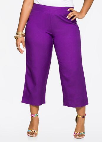 Cropped Wide Leg Linen Pants